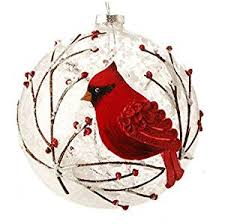 snowy cardinal branches glass