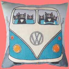 retro bus with cute little cats couch cushion covers tabby shop