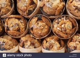 traditional cookies with nuts lay packed in the bakery