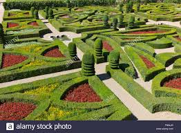 overlooking the ornamental garden with clipped buxus sempervirens