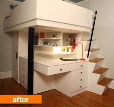 Desk For Small Rooms Before After Small City Bedroom To Custom Lofted Bed Desk