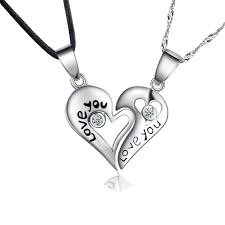 engraved heart necklace 925 sterling pendant necklaces with pair split heart