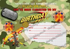 party invitations nerf gun nerf war army birthday party