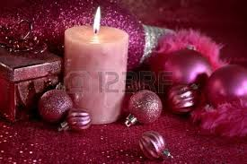 pink christmas decorations with present feather garland
