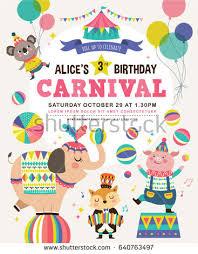 birthday card circus cartoon animals stock vector 635537426
