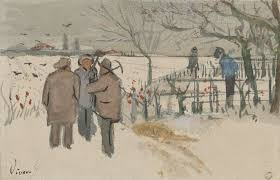 sketch of miners in the snow winter enclosed in a letter from