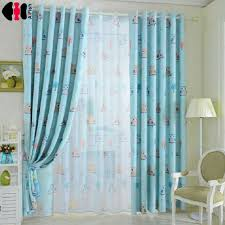 Owl Curtains For Nursery Owl Printed Blue Yellow Curtains For Children Fabric Nursery Cloth