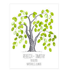 thumbprint tree wedding guest book alternative weeping willow