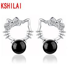 hello earrings 2017 korean girl cat hello bow black onyx