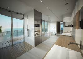 modern master bathroom with double sink u0026 wood counters in sunny