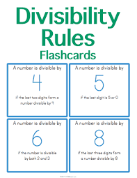 customizable and printable divisibility rules flashcards math