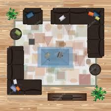 sofa armchair pillows carpet coffee table pouf plants vector furniture set for interior design scene creator interior top view architectural floor plan dark sofas on wood parquet vector by am2vectors