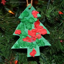 simple tissue paper tree shaped ornament craft