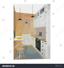 home interior style home interior kitchen dining room design stock vector 723491818