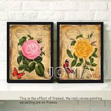 home interior prints 4 pieces botanical floral prints vintage wall antique canvas