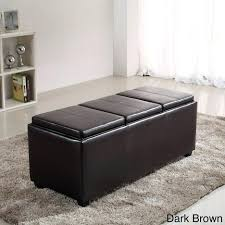 black faux leather ottoman storage bench design4comfort with trays