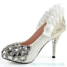 Wedding Shoes Luxury Rhinestone Scalloped Luxury Wedding Shoes With Middle Heels Or