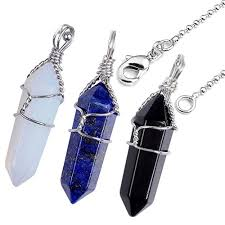 necklace with black stones images Top plaza 3pcs opalite lapis lazuli black crystal healing stones jpg