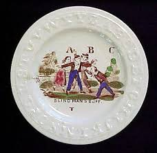 Alphabet Blind Abc Plate Double Alphabet Blind Man U0027s Buff 1840 Antique