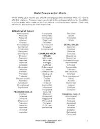 Reference Page For Resume Good Action Words For Resumes Resume For Your Job Application
