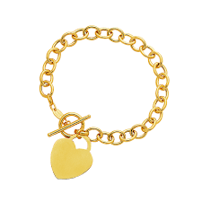 gold bracelet with heart charm images Toggle bracelet with heart charm in 14k yellow gold mondier jpg