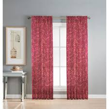 Sheer Maroon Curtains Window Elements Sheer Pinehurst Printed 54 In W X 84 In L Rod