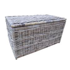 grey u0026 buff rattan storage trunk chest small amazon co uk