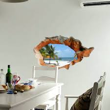 wall arts 3d beach wall decals 38 inch removable sea wall art