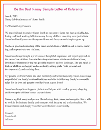 nanny recommendation letter sample choice image letter samples