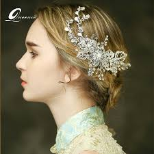 bridal hair clip bridal comb hair clip silver leaves tiaras wedding hair