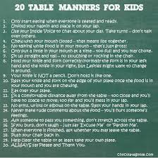 table manners teaching good table manners
