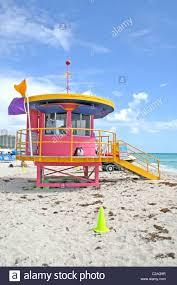 colorful lifeguard stand modern art deco architecture miami beach