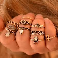 ring set 10pcs vintage knuckle rings tribal ethnic hippie joint ring