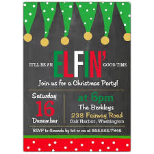 christmas party invitations elfin time christmas party invitations paperstyle
