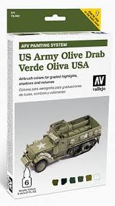 afv us army olive drab paint set 6 colors hobby and model paint