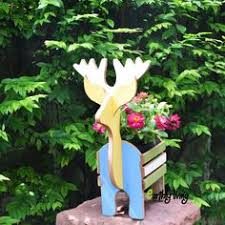 reclaimed wood reindeer new year plant stand garden