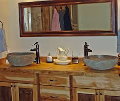 vessel sink bathroom ideas bathroom ideas two rustic vessel sinks bathroom framed