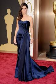 sandra bullock navy blue satin mermaid celebrity vintage prom
