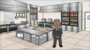 a confident black bald guy at a kitchen restaurant cartoon clipart