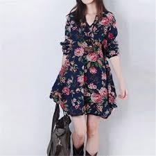 zanzea new womens floral linen long sleeve v neck cute short