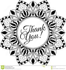 mandala with text thank you black and white illustration stock