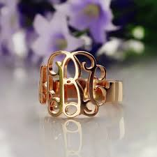gold monogram ring personalized gold monogram ring