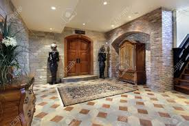 basement foyer area with doors to theater room stock photo