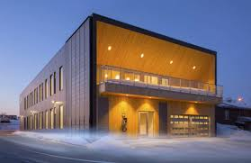 create a building daylit stgm head office uses reclaimed wood solar power and a green