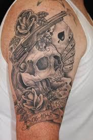 grey ink skull gun and rose tattoos photo 4 2017 real photo