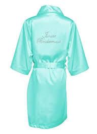 bridesmaid satin robes rhinestone junior bridesmaid satin robe david s bridal