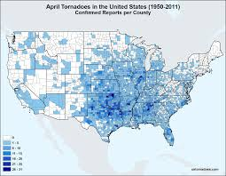 Midwest United States Map by Map April Tornadoes In The United States U S Tornadoes