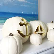 pumpkin carving idea nautical white pumpkins canadian living