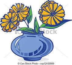 Clipart Vase Of Flowers Clipart Vector Of Flowers In Vase Blue And Yellow Flowers In