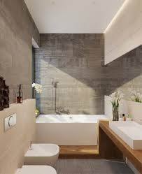 soft grey stone tiles continuous timber vanity bath base and